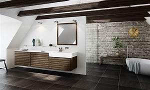 Meuble Salle De Bain Noyer : meuble salle de bains bois carrelage et d co en 105 id es ~ Melissatoandfro.com Idées de Décoration