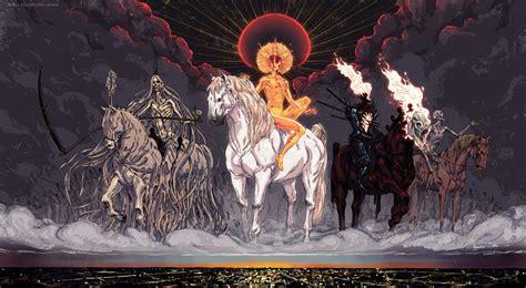 horsemen apocalypse four war famine conquest death hd desktop background wallpapers backgrounds mobile px tags wallup