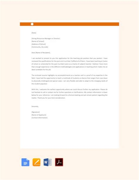 A letter of application which is sometimes called a cover letter is a type of document that you send together with your cv or resume. 16+ Job Application Letter for Teacher Templates - PDF ...