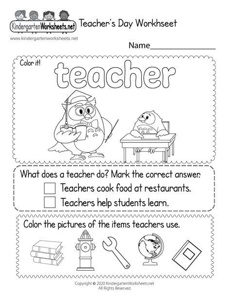 teachers day coloring worksheet  kindergarten