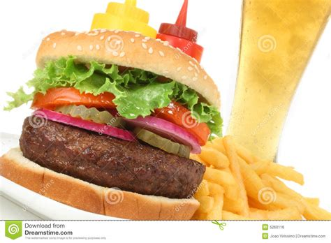 hamburger meal hamburger meal with french fries and cold beer royalty free stock image image 5260116