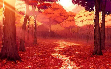 Autumn Anime Wallpaper - drawing artwork fall leaves sunlight forest