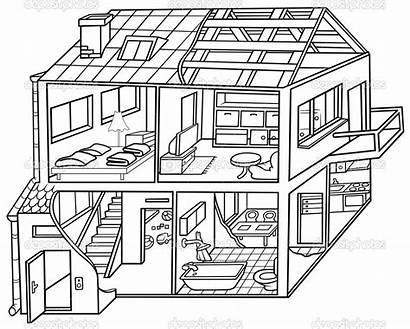 Clip Clipart Dwelling Inside Coloring Simple Illustration