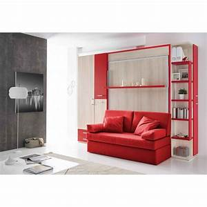 lit rabattable avec canape couchage 140x190 spacy With canapé lit 140x190