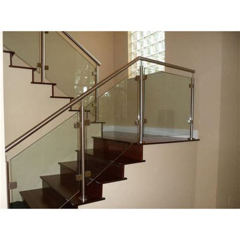 Glass Banisters For Stairs by Stainless Steel Bar Stairs Glass Railing Rs 750
