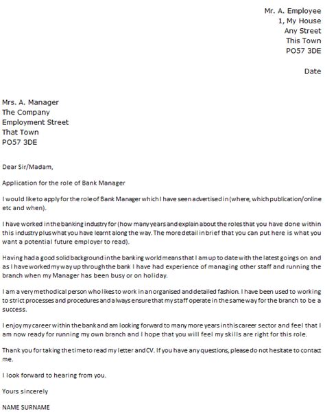 bank manager cover letter  icoverorguk