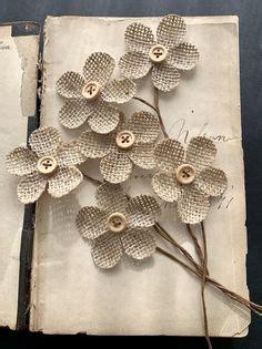 Crema marrón rosa a granel Burlap flores flores de