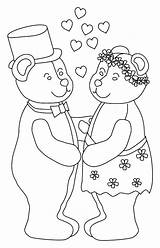 Coloring Wedding Pages Bear Marry Bride Bears Groom Teddy Printable Colouring Sheet Sheets Animal Coloringpages1001 sketch template