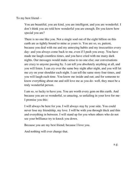 a letter to my best friend a letter to a best friend quotes and thoughts 31973