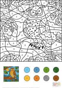 owl color  number  printable coloring pages