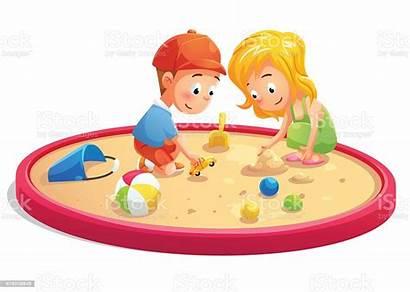 Playing Sandbox Cartoon Illustration Child Vector Fun