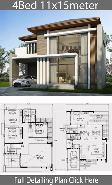 Home design 11x15m with 4 Bedrooms Architectural house