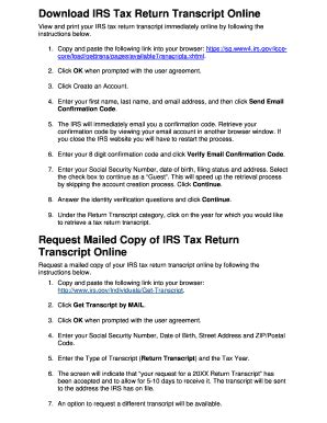 24 printable irs tax transcript forms and templates