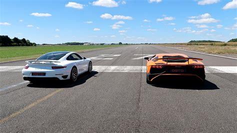 Vs Lamborghini Race by Race Lamborghini Aventador Sv Vs Porsche 911 Turbo S