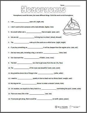 printable homophones worksheet weareteachers