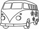 Van Clipart Clip Coloring Pages Hippie sketch template