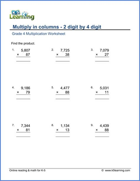 grade 4 math worksheet multiply in columns 2 by 4 digit numbers k5 learning