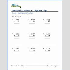 Grade 4 Math Worksheet  Multiply In Columns 2 By 4digit Numbers  K5 Learning