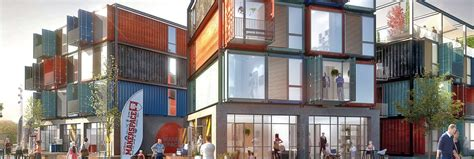 striking apartment complex     raw shipping containers