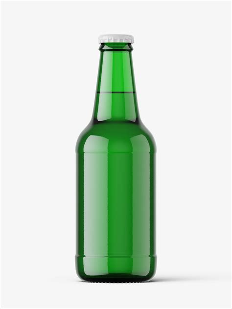 Contains special layers and smart objects for your great artwork. Green beer bottle mockup / 330 ml - Smarty Mockups