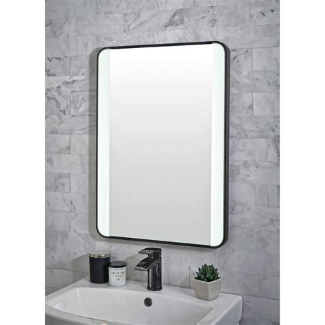 shield mono black framed bathroom mirror  led lighting