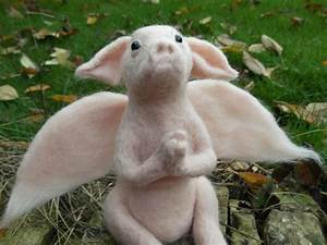 Love  Mrs Plop  Felted Handmade Ooak Baby Piglet Angel