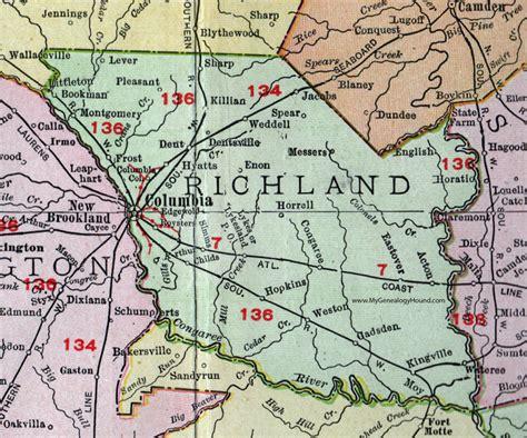 Richland County, South Carolina, 1911, Map, Rand McNally ...