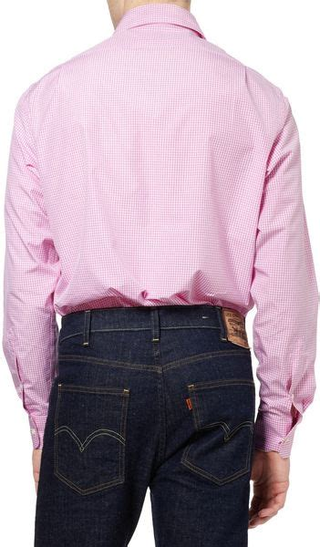 ralph lauren purple label cutaway collar gingham check