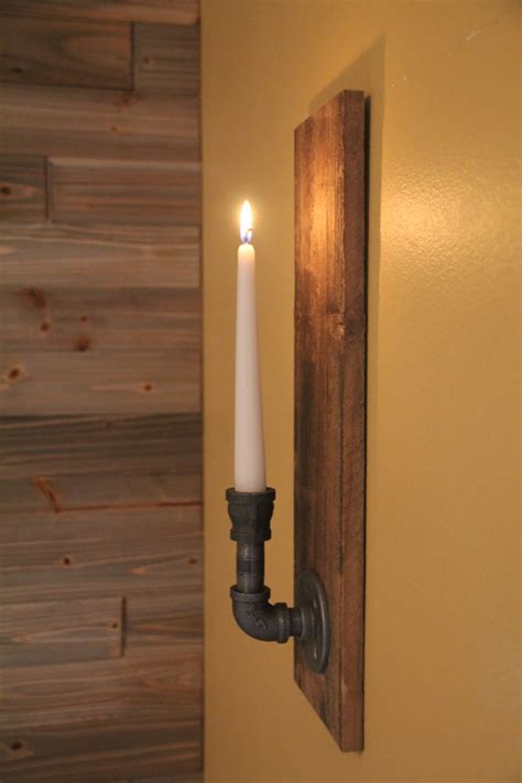 rustic wall candle holder sconce wood sconces magnus