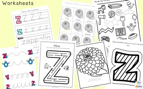 letter z worksheets for preschool kindergarten 619 | Letter Z Learning Pack Worksheets