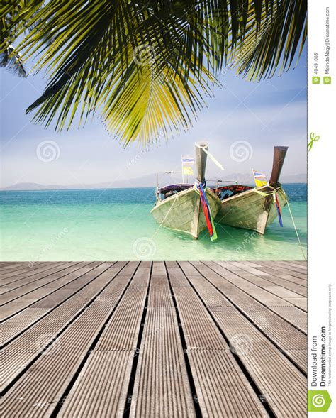 Deck Boat In Ocean by Adaman Sea And Wooden Boat In Thailand Stock Photo Image