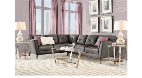 gabriele gray  pc leather sectional living room contemporary