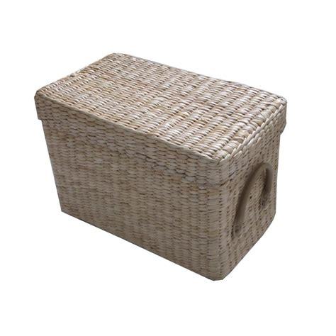 Soft Rush Lidded Rectangular Lined Storage Basket