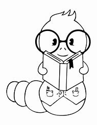 Black And White Book Worm Coloring Page