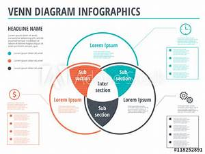 Venn Diagram Circles Infographics Template Design  Vector Overlapping Shapes