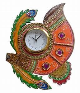 Unique, Indian, Crafts, Assymetric, Analog, Wall, Clock, D, U00e9cor, Watch, 3, X, 40, Cms, Buy, Unique, Indian