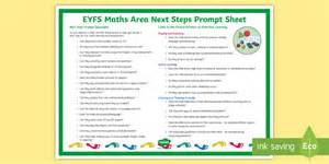 * New * Eyfs Maths Area Next Steps Prompt Poster  Early Years