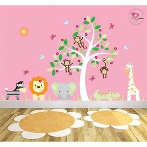 Lion Growth Chart Safari Fabric Nursery Wall Stickers