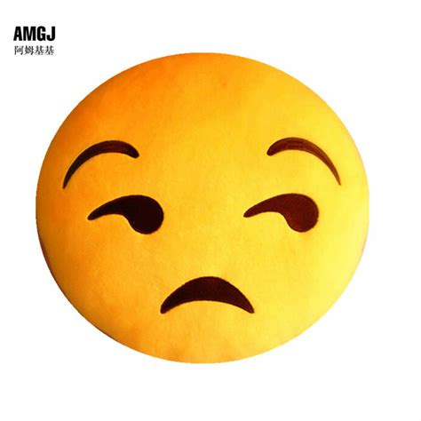 luxury yellow plush stuffed sad unhappy emoji cushion