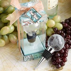 glass globe design wine bottle stopper favors world With travel themed wedding favors
