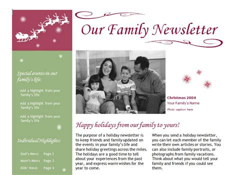 holiday newsletter newsletter template newsletter