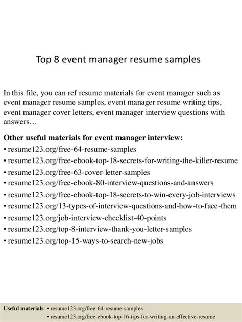 resume of event manager top 8 event manager resume sles