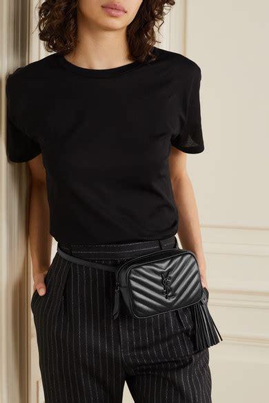 saint laurent loulou monogram ysl medium chevron quilted leather camera shoulder bag black