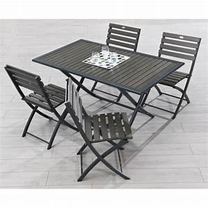 Table Jardin Bois Pliante : table pliante aluminium composite 140x80cm achat vente table de jardin table pliante ~ Teatrodelosmanantiales.com Idées de Décoration