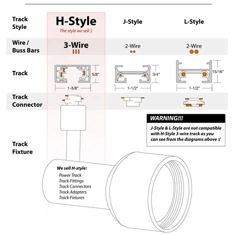 popular track lighting styles h style j style l style