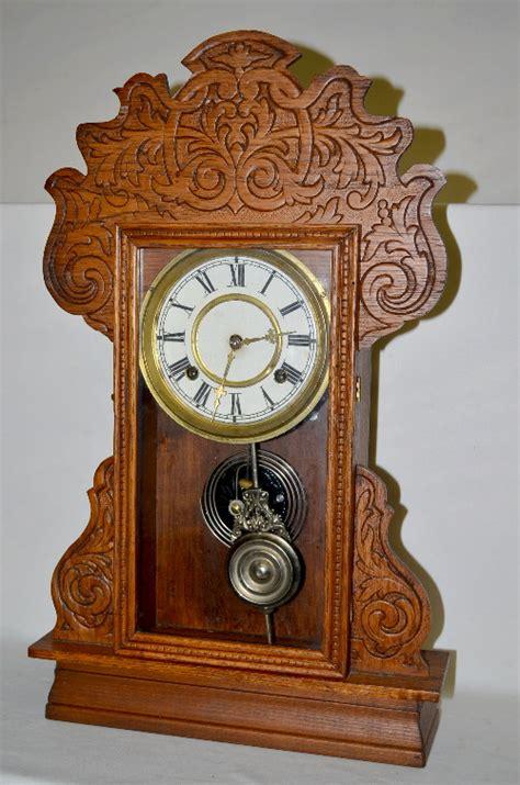sold price antique waterbury pressed oak kitchen clock