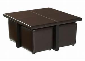 Table Basse Cuir : table basse cuir avec pouf le bois chez vous ~ Teatrodelosmanantiales.com Idées de Décoration
