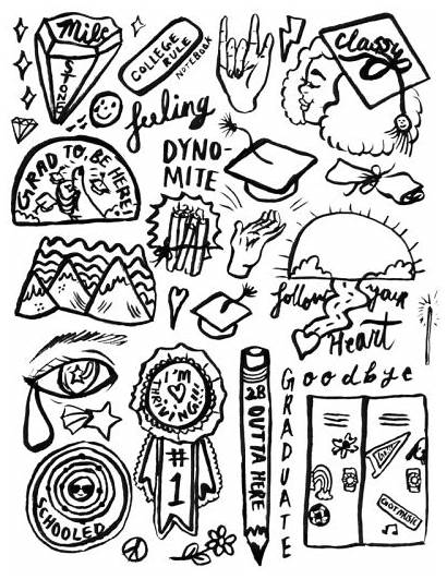 Stickers Printable Aesthetic Sticker Coloring Simple Graduation