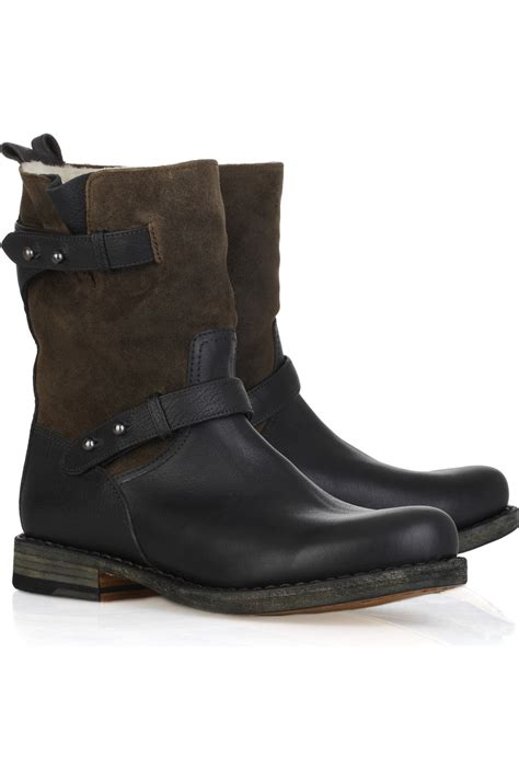 brown moto boots rag bone moto leather and suede boot in brown black lyst