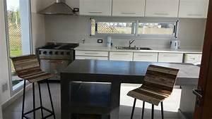 Cocina, Con, Isla, De, Microcento, Muebles, De, Melamina, Blanco